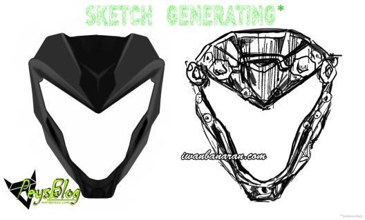 Batok Headlamp CS1 setelah Sketch Generating